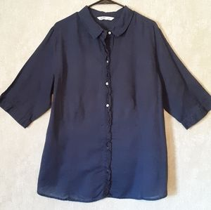 Old Navy Navy button down 3/4 sleeve blouse XXL